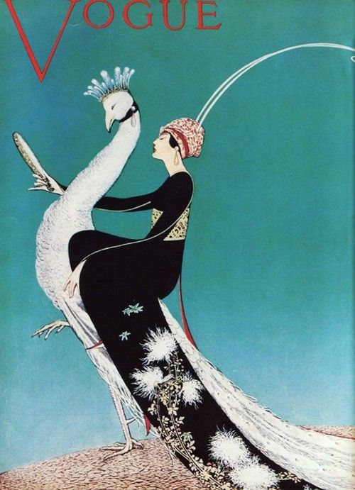 Vogue cover. Woman riding a white peacock.