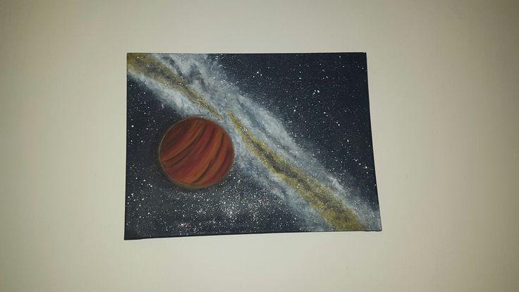 Acrylic paint, universe, planet