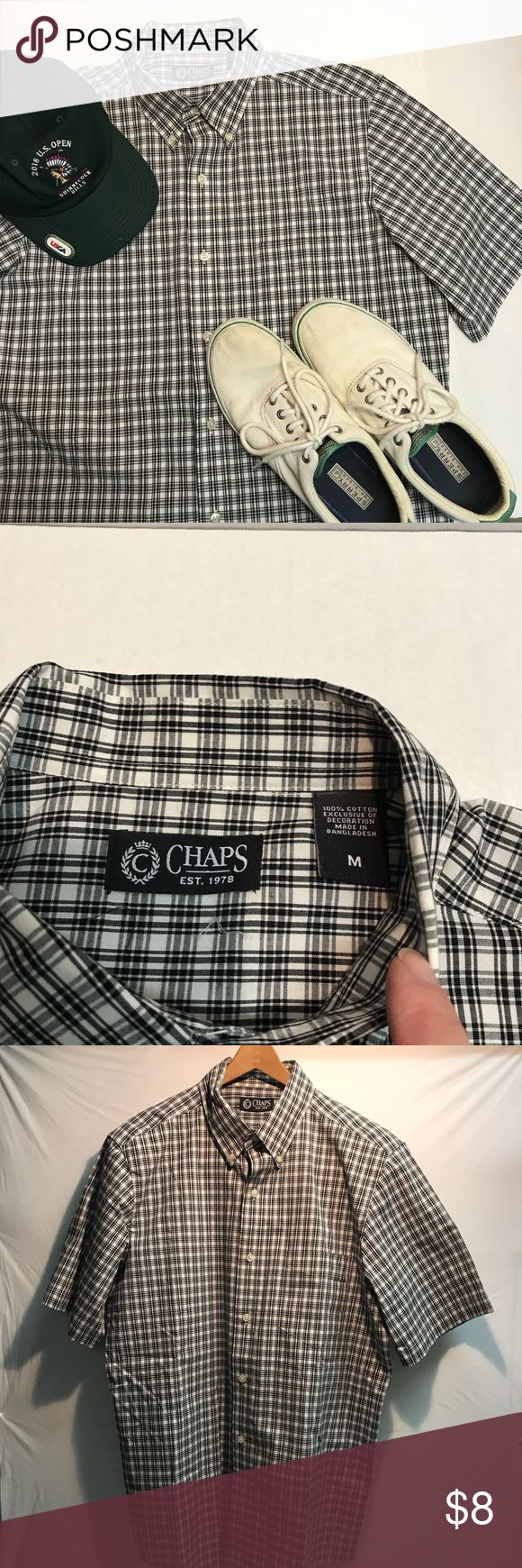 """Chaps Short Sleeve Button Down Shirt Chaps Short Sleeve Button Down Shirt in black and white plaid. 100% cotton. Measures 23"""" across underarms and 33"""" long. Excellent used condition. Chaps Shirts Casual Button Down Shirts"""