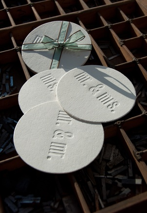 Letterpress Wedding Coasters from Headcase Press
