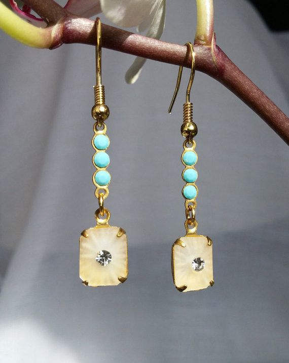 vintage earrings turquoise Swarovski stones and frosted gems