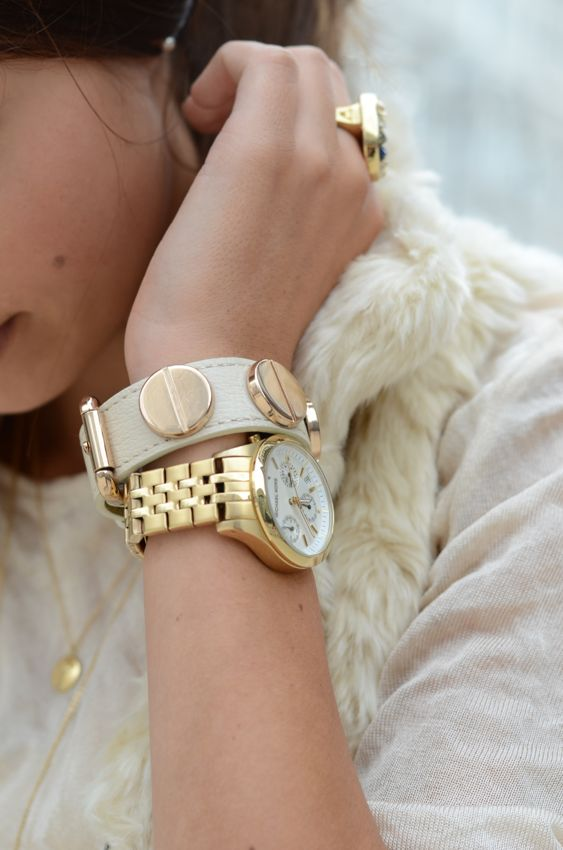 leather wrap - golden watch