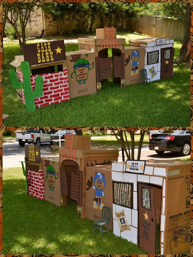 Wild West Town - Western Inspired 1st Birthday party for my son. Built the town out of appliance boxes. He also loves Team Umizoomi so we through Bot, Geo & Millie in!