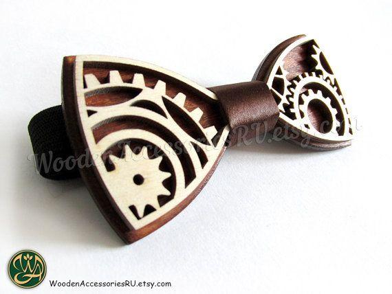 Wood bow tie Steampunk wooden bowtie gear wheel cogwheel