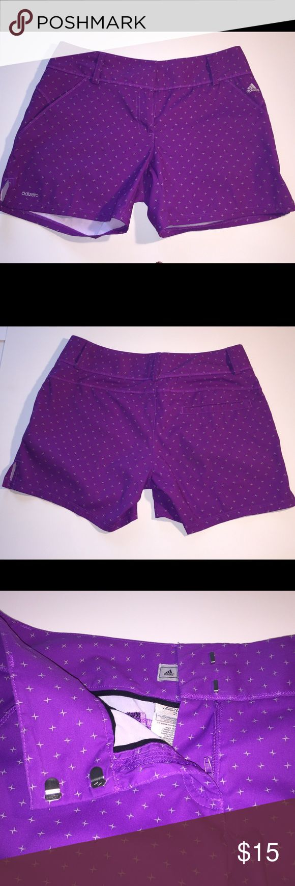 """Adidas Adizero Women's Purple/silver shorts Size 2 Adidas Adizero Women's Purple/silver shorts Size 2. Like new condition. Zipper front closure with clasps. 2 front pockets, 1 back pocket. 94% polyester, 6% Spandex. Smoke free/ pet free home.  Great for: fitness, gym, workout, athletic, performance, exercise, running, tennis, golf, yoga, cycling, cross fit Measurements:  Waist lying flat: 16"""" Rise approx: 8"""" Inseam: 5"""" IC 9 Adidas Shorts"""