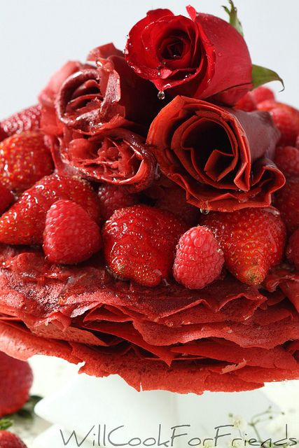 Red Velvet Crepe Cake,Fleur de CrepeRed Velvet Crepe Cake with Chocolate Mascarpone Whipped Cream and fresh berries, drizzled here with honey, though chocolate would be nice as well.