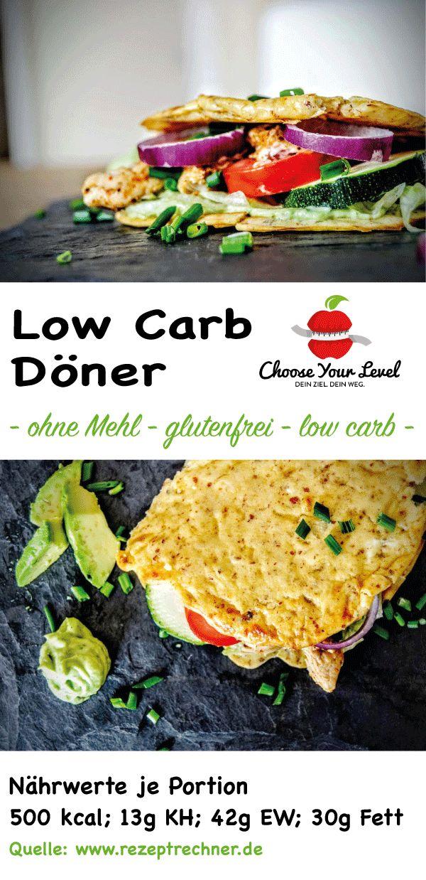 Low Carb Döner (Sandwich) - glutenfrei - ohne Mehl - wenig Kohlenhydrate - oopsie brot belegt -   Zutaten: Oopsie (Brot) 2 EL geriebener Käse 2 EL Mandelmehl 1,5 EL Frischkäse 1 EL Naturjoghurt, 1,5% Fett 1 Ei ein wenig Backpulver etwas Salz  Belag: 100g Puten- oder Hühnchenfleisch 50g Eisbergsalat 1/2 Tomate 1/4 grüne Gurke 50g Feta Ziebel, Schnittlauch nach Belieben  Avocado Dip: 1/4 Avocado 1/2 EL Creme Fraiche 1/2 EL Basilikumblätter 1/4 Knoblauch Zehe 1/2 EL Zitronensaft Salz, Pfeffer