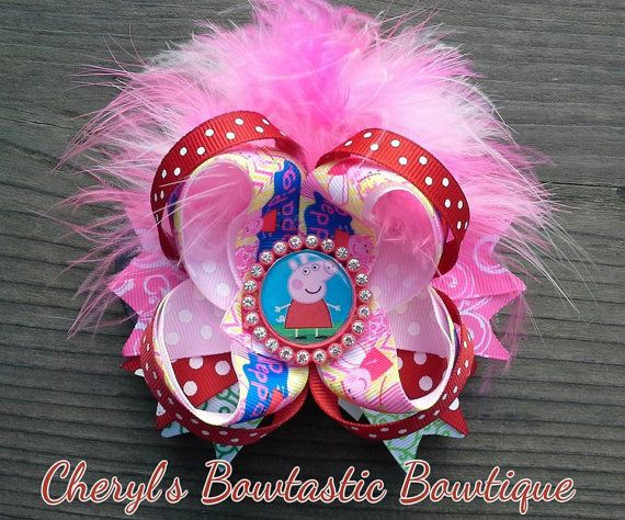 Small Peppa Pig twisted boutique bow by CherylsBowtasticBows