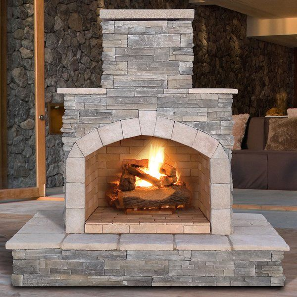 Enjoy cool evenings in front of an open flame and create a warm, inviting ambiance with the Cal Flame 55,000 BTU Gray Stone Liquid Propane Outdoor Fireplace. This beautiful fireplace features a large mantel and is equipped with a 55,000 BTU burner, fire log set and lava rocks. Liquid propane (LP) fuel is the recommended fuel to power this fire place. With a combination of Nantucket stacked stone and tropical cream porcelain tile, this striking fireplace was designed to be placed against any…