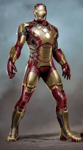 "Concept art of the Mark 42 armor from ""Iron Man 3"" (2013)."