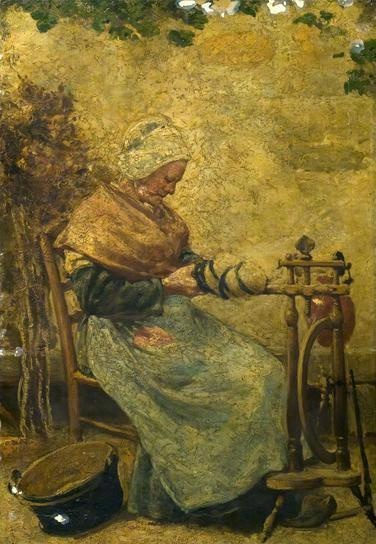 Woman at a Spinning Wheel  by unknown artist