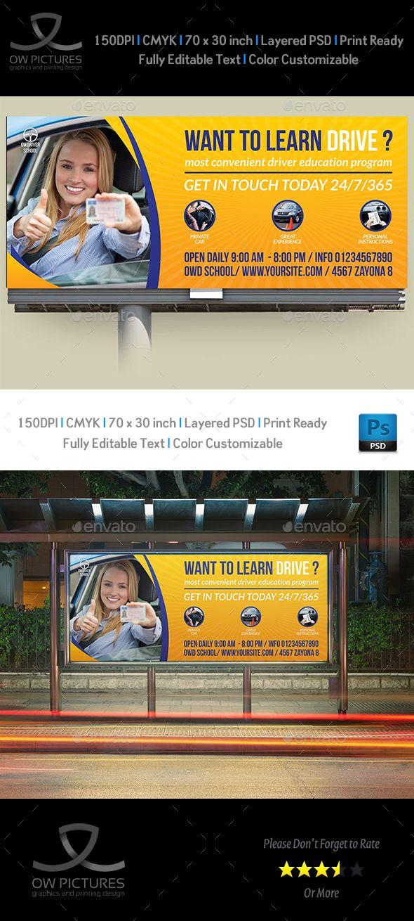 Driving School Billboard Template PSD. Download here: http://graphicriver.net/item/driving-school-billboard-template/15849758?ref=ksioks