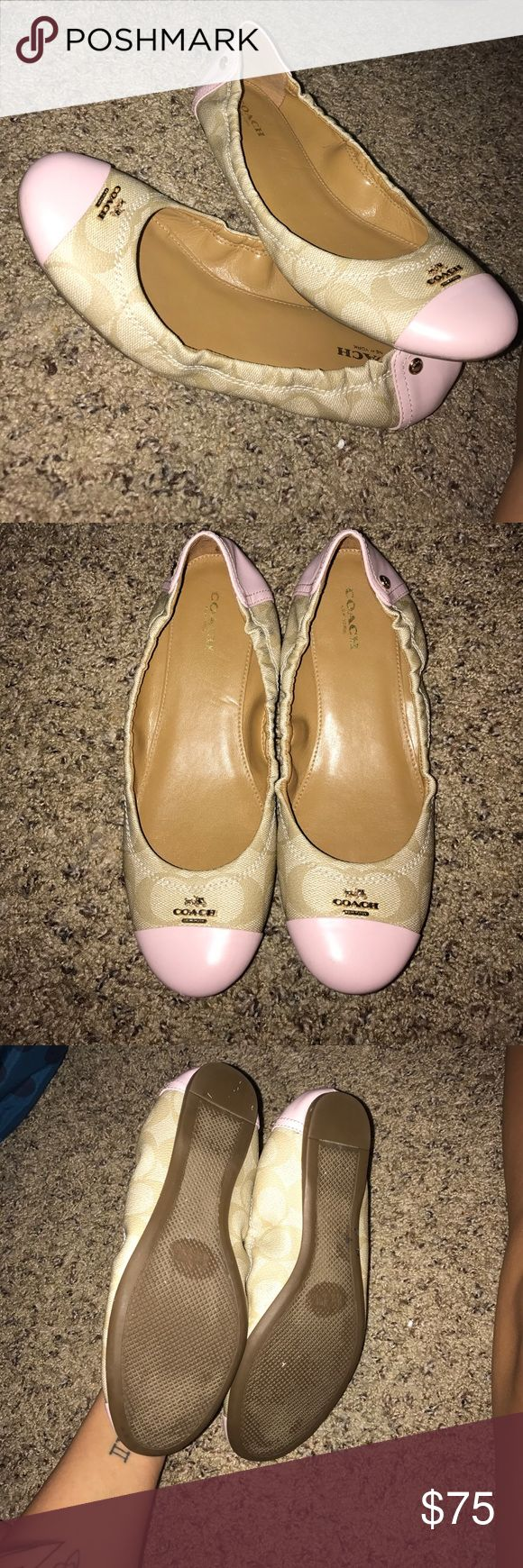 Coach flats Like new Coach flats. Worn 2 times they are a 7.5 I usually wear a 7 and they fit perfect Coach Shoes Flats & Loafers