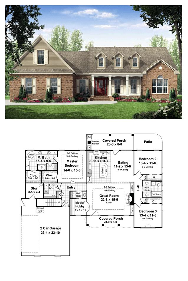 Country House Plan 59114 | Total Living Area: 2000 sq. ft., 3 bedrooms & 2.5 bathrooms. This inviting home has European Country styling with upscale features. The front and rear covered porches add plenty of usable outdoor living space, and include that much-requested outdoor kitchen. #country #houseplan