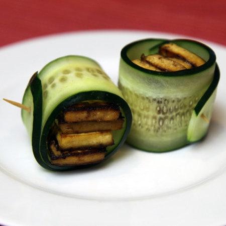 Cucumber tofu rolls.