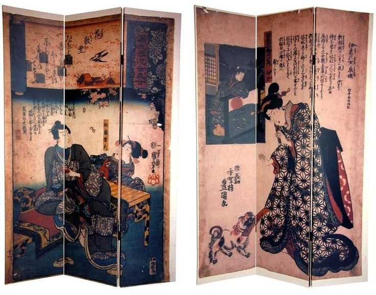 Handmade Canvas Double-Sided 6-Foot Japanese Figures Room Divider Home Decor #divider