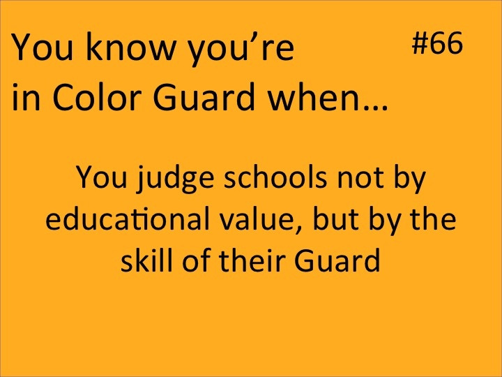 You know you're in guard when... #66 You judge schools not by their educational value, but by the skill of their guard.