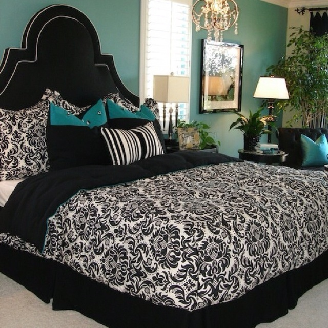 Black white and teal bedroom - very elegant yet contemporary