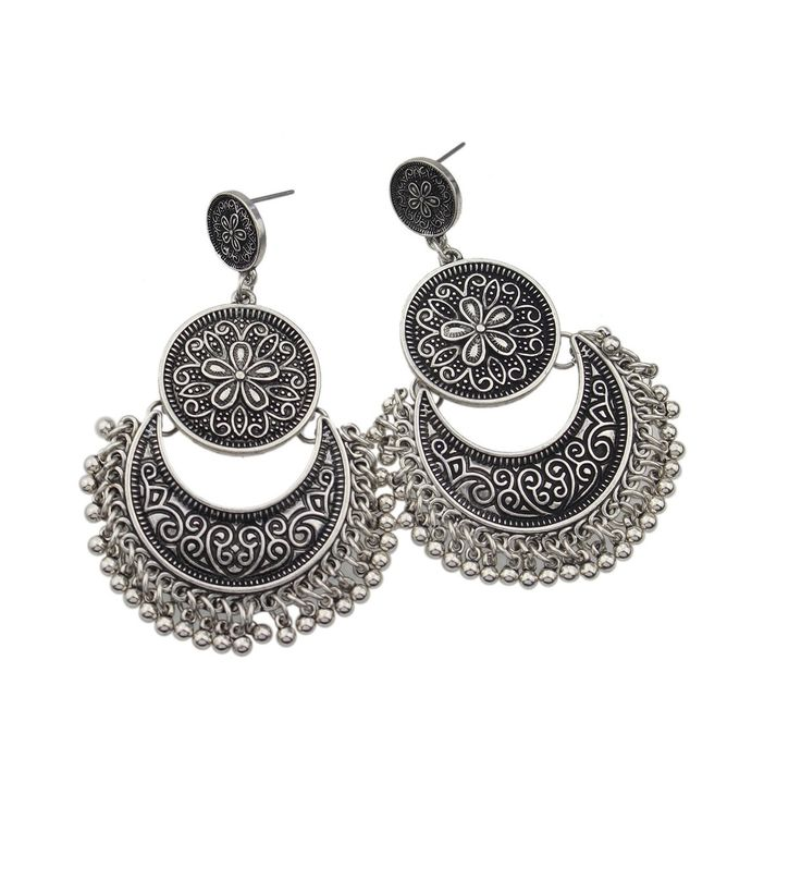 Traditional Silver Statement Earrings  #statementearrings #silverearrings #chandilierearrings #bohoearrings #rusticearrings #earrings