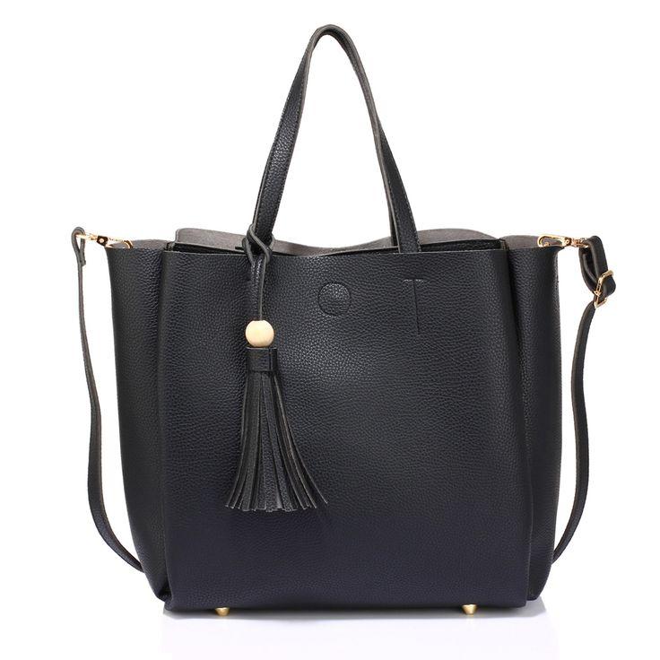 Large Black Tote Bag with Tassel