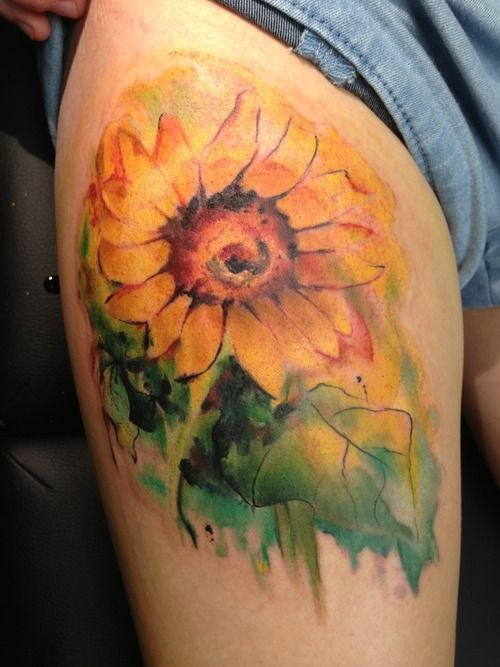 watercolor sunflower tattoo - - Yahoo Image Search Results