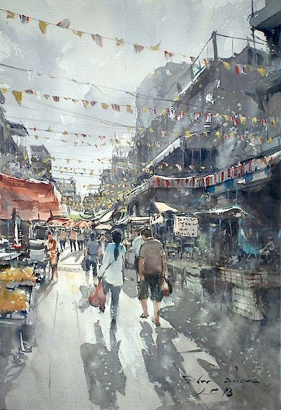 Direk Kingnok Watercolor artist - Sunny day, Bangkok. 36 x 50 cm.