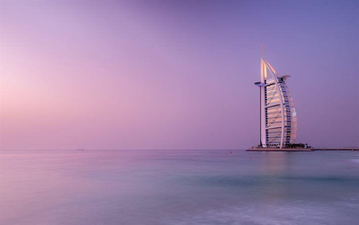 Scarica sfondi Il Burj Al Arab, hotel di lusso, tramonto, Dubai, Golfo Persico