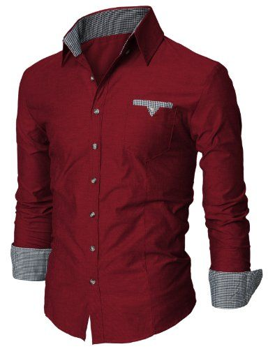 Doublju Mens Long Sleeve Fitted Dress Shirt with Contrast Detail WINE (US-XS)
