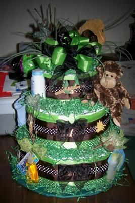 Little Monkey Diaper Cake: Here is a little monkey diaper cake for a Jungle theme Baby Shower... It was really fun to make and turned out nice.