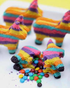 Piñata cookies: Cookies filled with candies, shaped like burro piñatas.