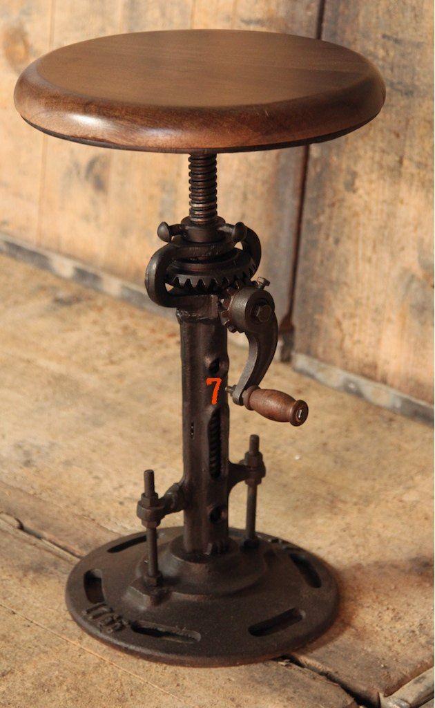 Tabouret industriel rehaussable mobilier pinterest - Tabouret de bar industriel ...