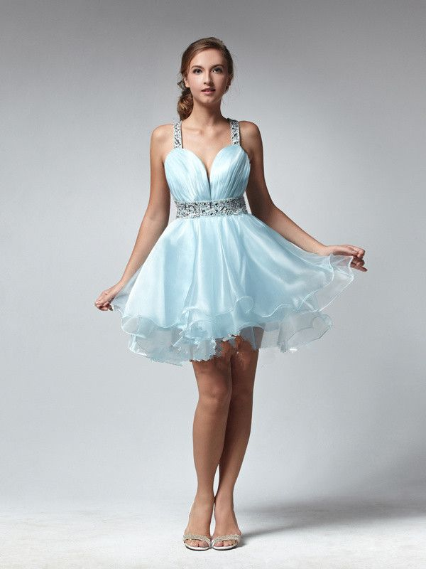 2015 Straps Criss Cross Tulle Sleeveless Sleeveless Short Length Homecoming / Cocktail / Prom Dresses TBQP138