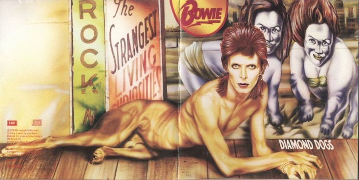 Bowie as a half-man, half-dog for the original cover of Diamond Dogs, 1974, painted by Belgian artist Guy Peellaert; very few copies of this uncensored cover made their way into circulation and are now highly collectible