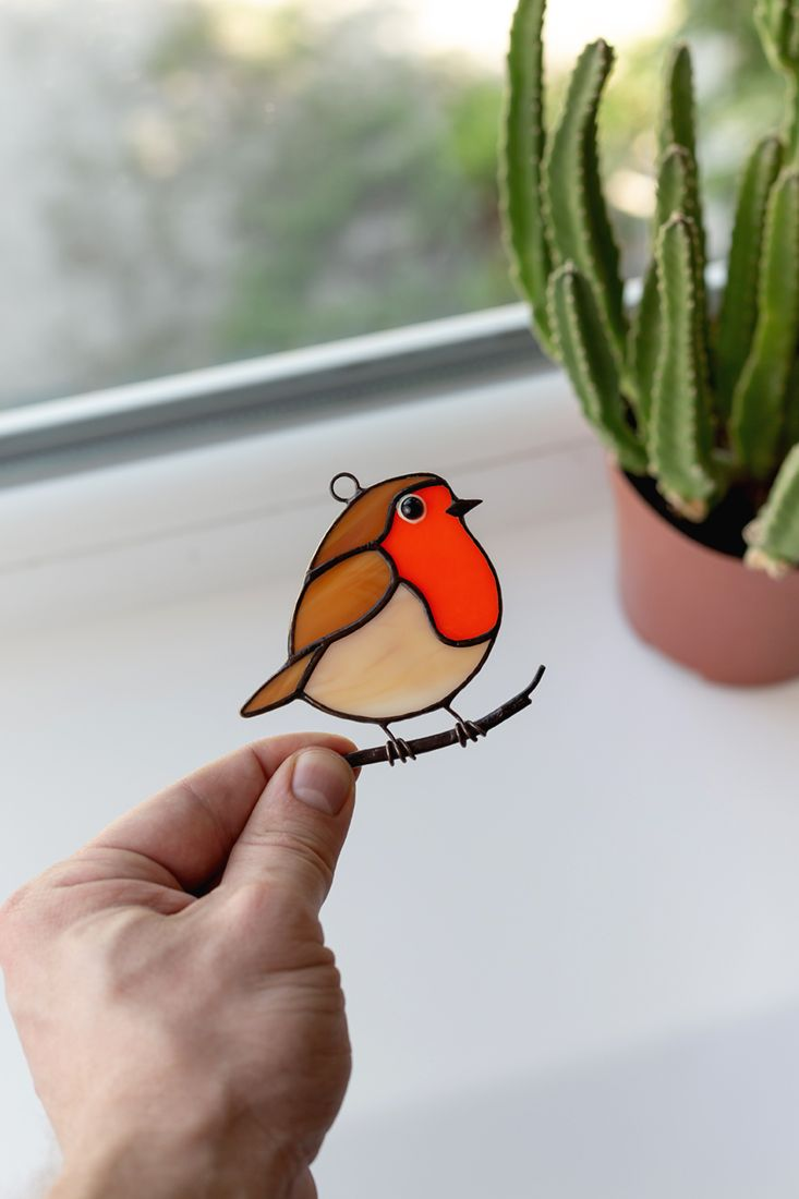 Robin stained glass bird suncatcher mom gift Custom stained glass window hangings fat bird lover gif