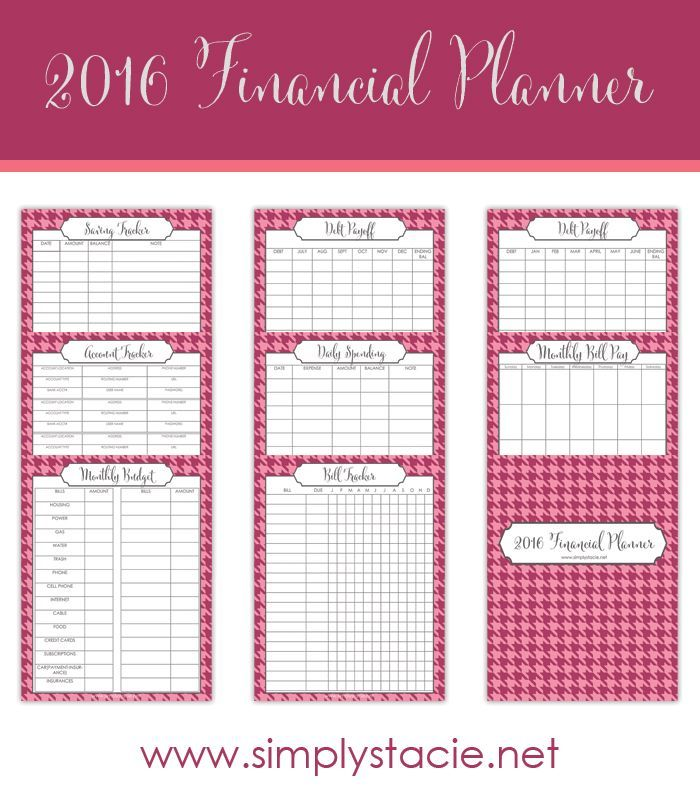 Free 2016 Financial Planning Printables -   Organize your family's finances in 2016 with this set of free financial planning printables!