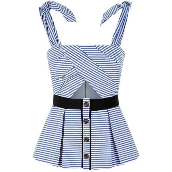 Self-Portrait Stripe Pleated Top (£200) ❤ liked on Polyvore featuring tops, blue stripe shirt, cut-out shirts, peplum tops, peplum shirt and blue top