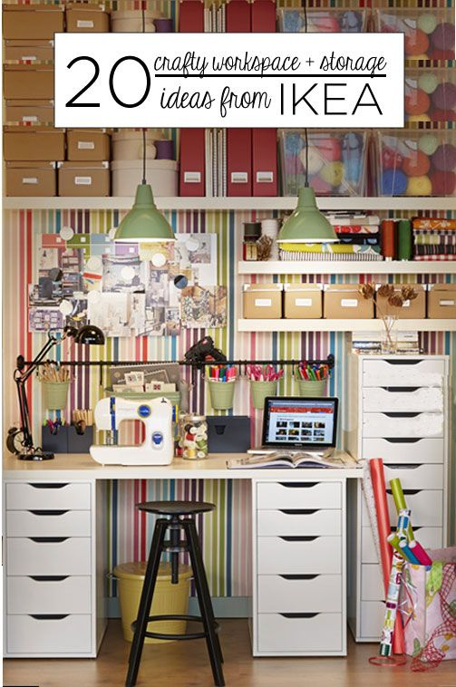 20 crafty workspace storage ideas from ikea kitchen for Small craft table with storage