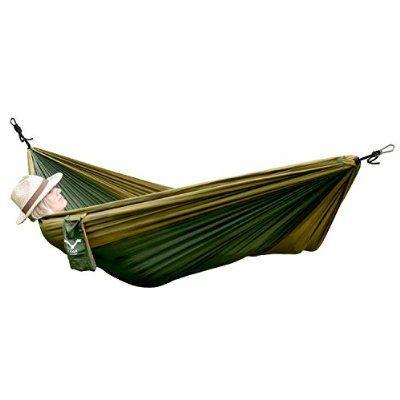 HAWK Outdoor Ultra-leicht Reise-Hängematte aus Fallschirm-Seide - Zubehör-Set mit Befestigung 2 Karabiner und 2 Seile - Reise, Camping, Garten, Backpacking, Strand, Travel-Hammock - 200kg Traglast