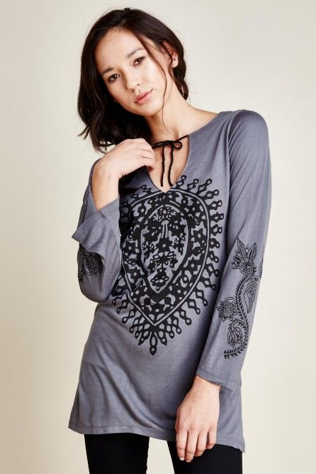 Mandala Tunic in Grey Ombre - Earthbound Trading Co.