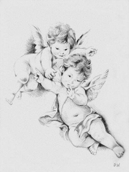 маленькие ангелочки картинки черно белые потратить хотя