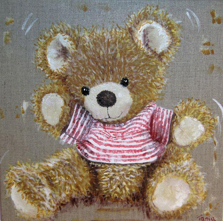 Petite toile acrylique nounours en peluche : Peintures par 1otreregar