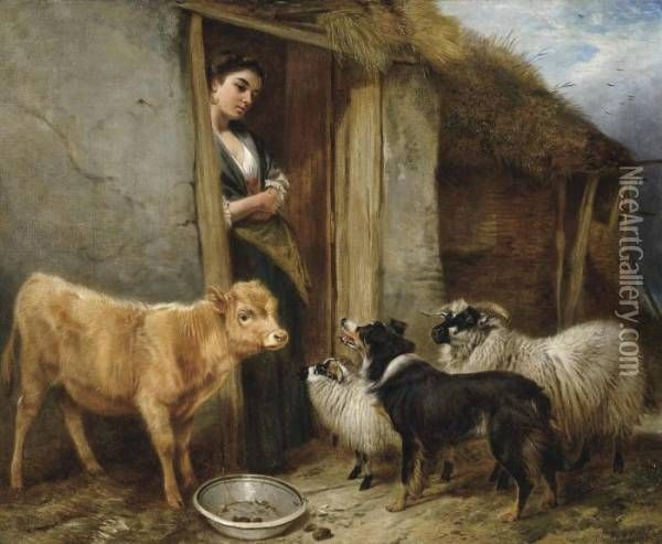 RICHARD ANSDELL PAINTINGS | The Shepherd's Home Oil Painting - Richard Ansdell