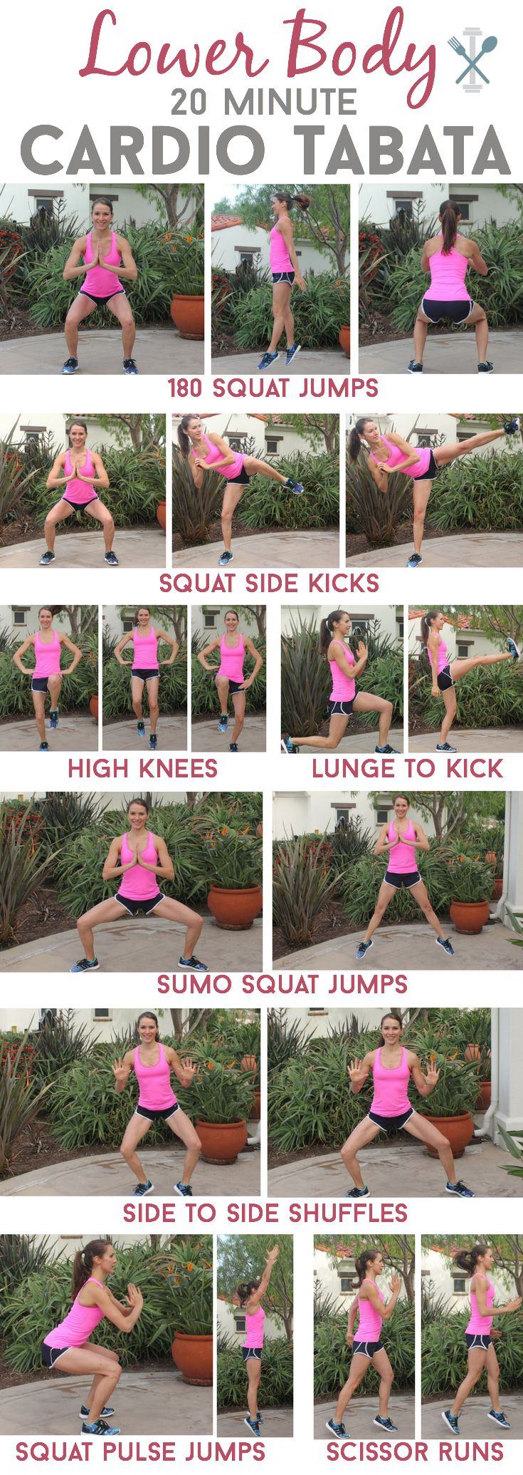 This 20 minute tabata workout is a serious calorie torcher to get your lower half in shape! No weights, no equipment