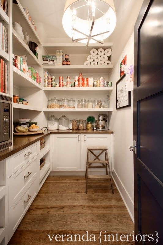 veranda interiors| microwave in the pantry | open shelving, drawers, wood counters