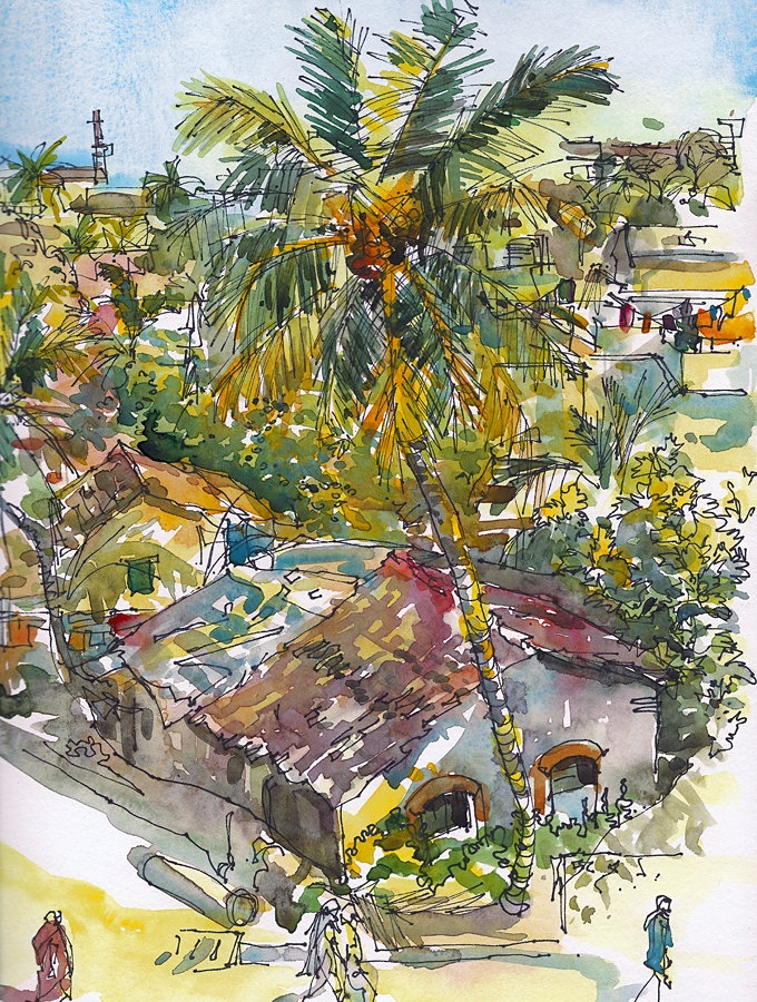 Coconut Palms and terracotta Roofs. Goa, India. Watercolor, pen and ink sketch