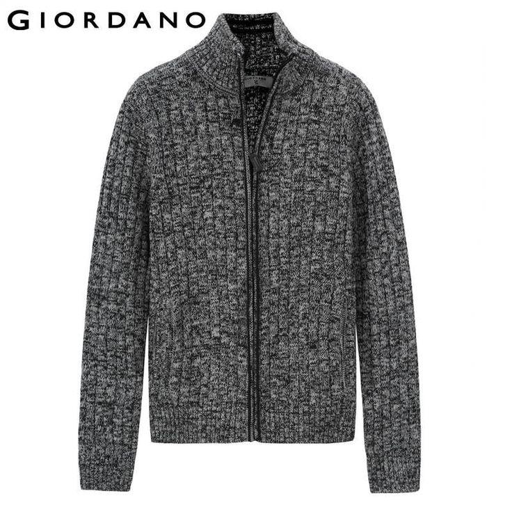 Giordano Men Sweaters Famous Brand Zipper Knitted Cardigan for Men Winter Mens Turtleneck Cardigan Man Knitwear