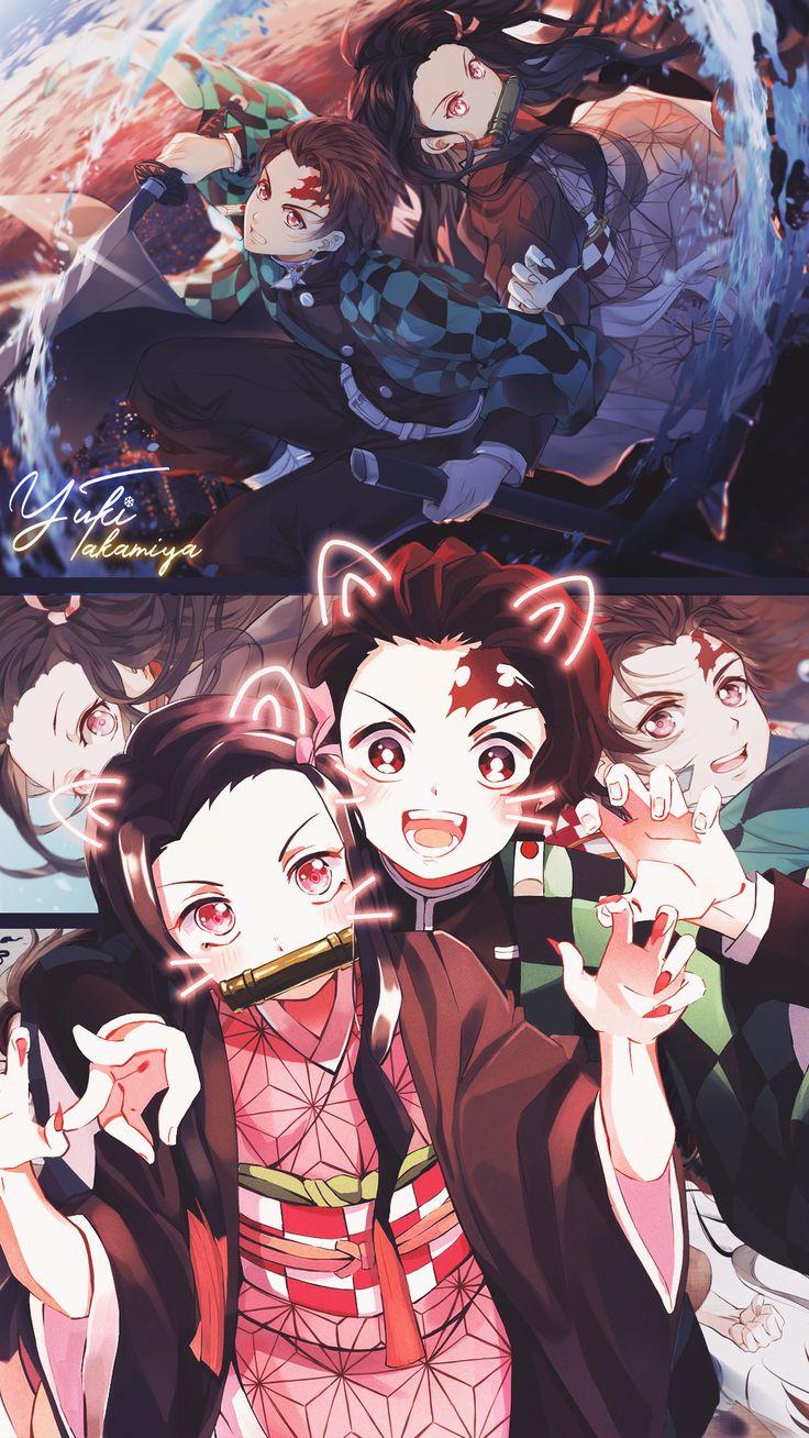 Tanjiro with Nezuko Mobile Wallpaper by Yuki aka