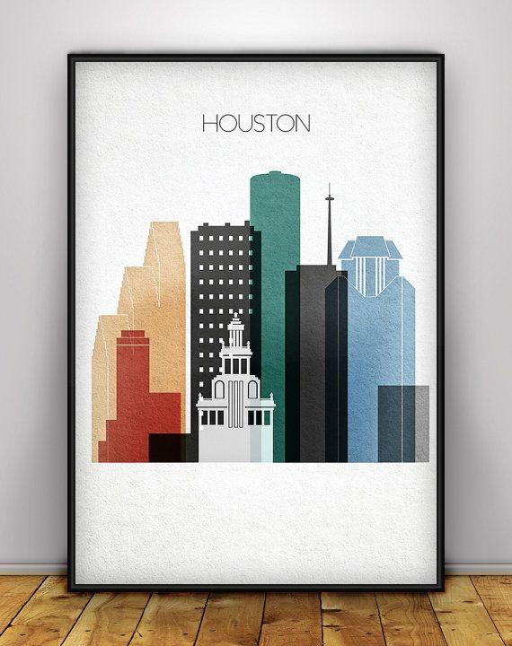 Houston print, Houston poster, Wall art, Texas cityscape, Houston skyline, City…