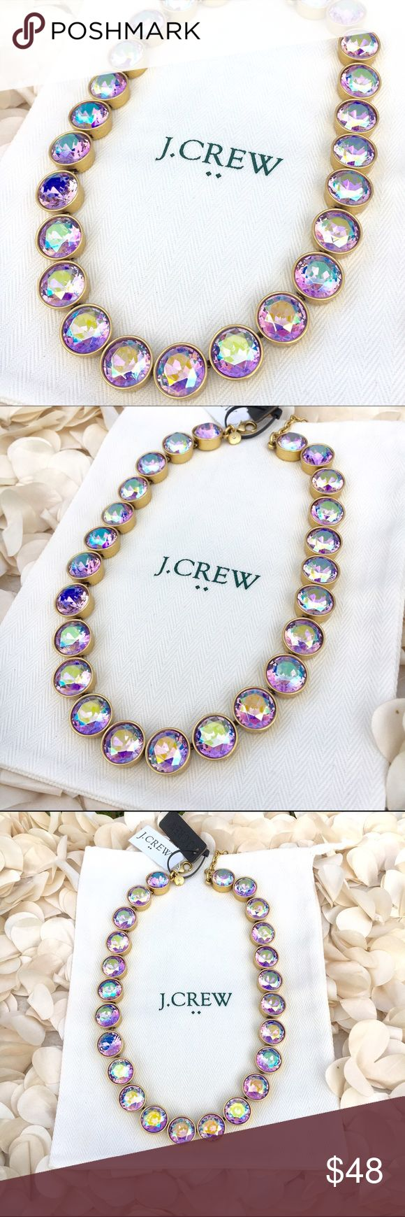 "J. Crew Crystal Dot Pink Irides Statement Necklace NWT - J. Crew Crystal Dots purple/pink Iridescent Statement Necklace -Glass and epoxy stones - Light gold ox plating - Length: 16"" with a 3"" extender chain for adjustable length - jewelry gift box and monogrammed J.Crew white drawstring dust storage bag included with purchase - reasonable offers welcomed J. Crew Jewelry Necklaces"