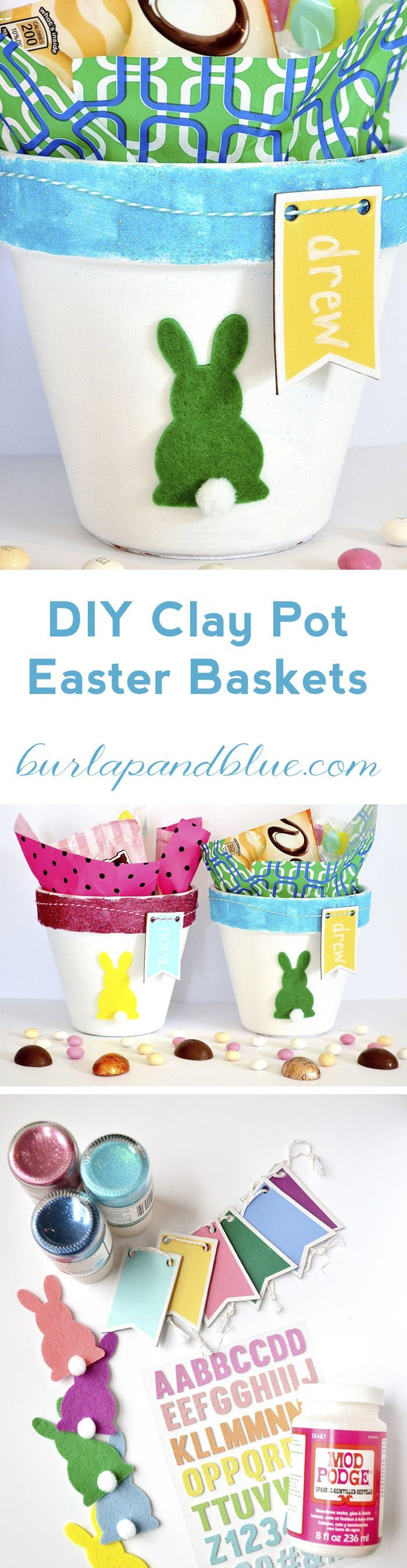 DIY clay pot easter baskets using glitter, mod podge, and embellishements!